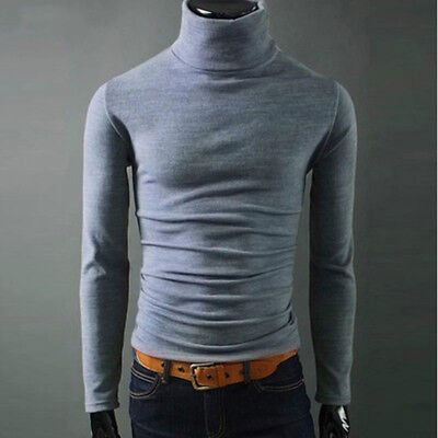New Autumn Men Sweaters turtleneck Solid Knitwear Slim Fit Brand Casual Male