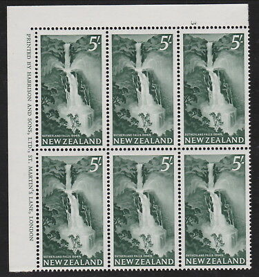 New Zealand. 1960 5/- Sutherland Falls chalky paper SG800a Plate Imprint block
