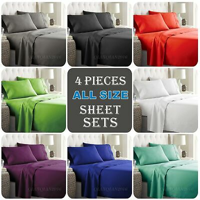 New 1000TC 4PCS Single/KS/Double/Queen/King Bed Flat Fitted Sheet Set Pillowcase