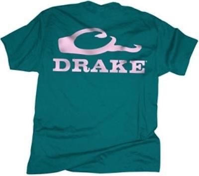 Drake Outdoors DT1961TPN-L Women's Large Waterfowl S/S Logo T-Shirt Teal/Pink