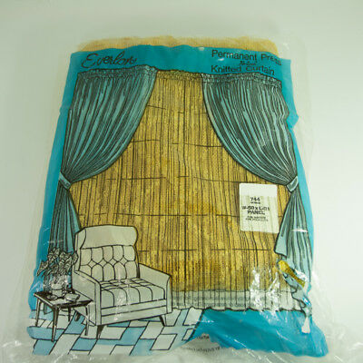 Vintage Gold Yellow Curtain Panel Everlon 58 x 81 inch Washable 1970s