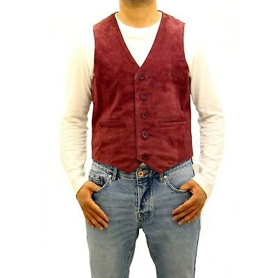 Mens Burgundy Red Suede Leather Five Button Classic Formal Traditional Waistcoat