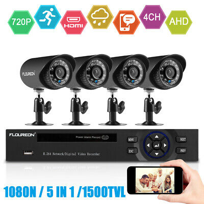 FLOUREON 8CH 1080N CCTV Security System AHD DVR Outdoor 1500TVL 720P 1MP Camera
