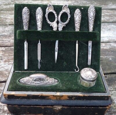 RARE ANTIQUE EDWARDIAN SOLID SILVER .925 STERLING MANICURE SET CASED c1908-1909