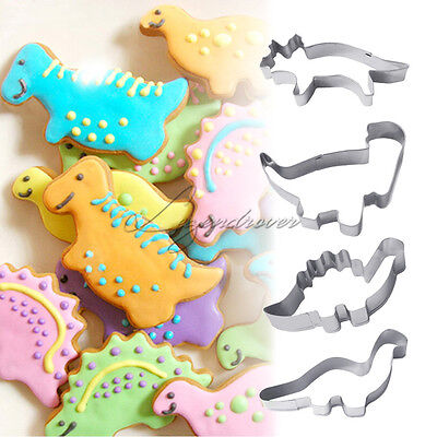 4PCS Stainless Steel Dinosaur Cookies Cutters Biscuit Pastry Cake Fondant Moulds