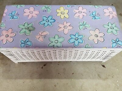White woven Toy Box with padded lid