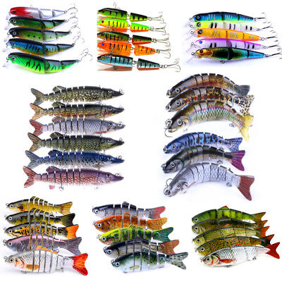 Multi Jointed Minnow Fishing Sinking Lures Popper Crank Bait Hooks Bass Tackle