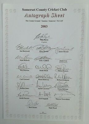 Somerset County Cricket Club Autograph Sheet 2003