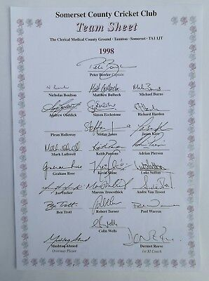 Somerset County Cricket Club Team Sheet Autographs 1998