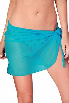 ToBeInStyle Womens Knee Long Beach Pareo Wrap w/ Corner Ties - Turquoise - One