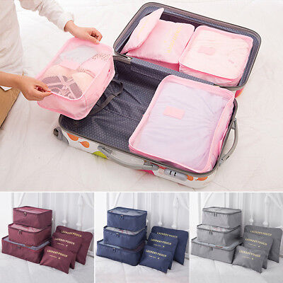 6pcs Luggage Organiser Packing Cubes Travel Storage Bag Pouches Clothes Suitcase