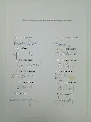 Yorkshire County Cricket Club Autograph Sheet