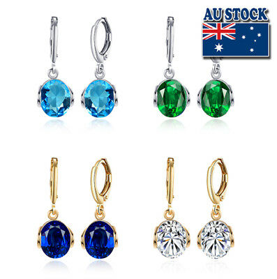Wholesale Elegant 18K Gold Filled Zircon Crystal Drop Dangle Earrings
