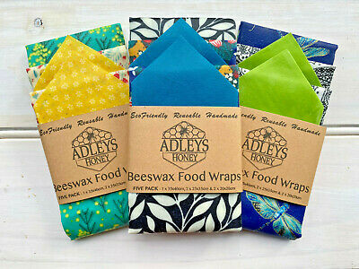Beeswax Food Wraps | STARTER PACK OF 5 | Eco Friendly | Gift | Australian Made