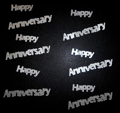 Die-cuts ~HAPPY ANNIVERSARY~ Textured Silver Cardstock Scrapbooking/Cardmaking