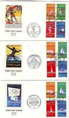 OLD EUROPE&OTHER 1920&1924&1956  OLYMPIC VIGNETTES  on  FDC   MUNICH OLYMPICS