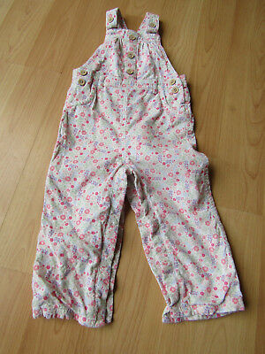 Baby Girl Floral Cord Style Dungarees 18-24 Months Vgc