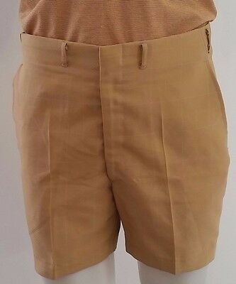 Mens Vintage 1970s Sefton MUSTARD YELLOW GOLD Check Casual Shorts size S