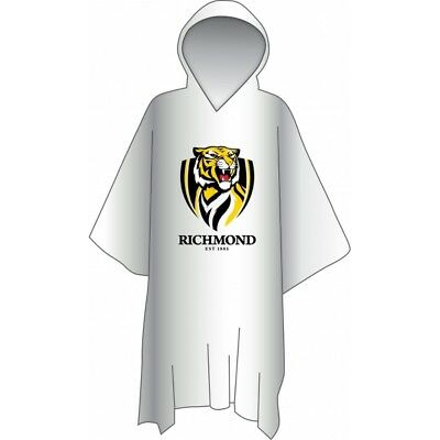 Richmond Tigers Official AFL Logo Plastic Poncho with Hood