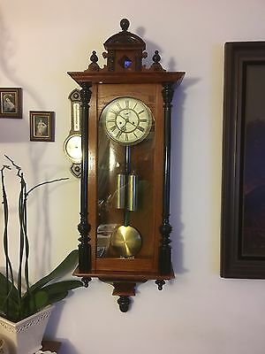 Walnut And Ebonitu 2 Weight Vienna Wall Clock C 1900s