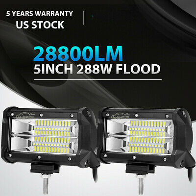 "2X 5Inch 288W Cree Led Work Light Bar FLOOD Beam Offroad 4WD Jeep Truck ATV 6""7"""
