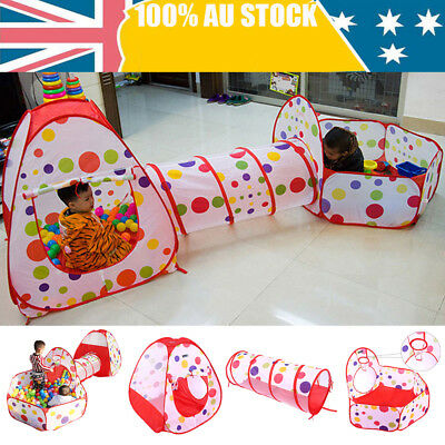 3 In 1 Toddlers Tunnel Pop Up Play Tent Cubby Playhouse Indoor/Outdoor Kids Toy