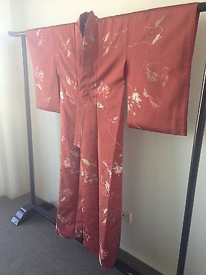 Vintage Silk Japanese Kimono Robe Costume Hand Made One of a Kind Birds