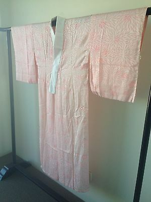 Japanese Vintage Pink Silk Kimono Robe Costume Hand Made One of a Kind