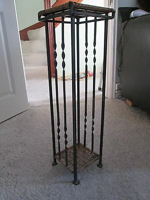 Vintage Art Nouveau style Twisted Wrought Iron wicker basket Plant hall Stand