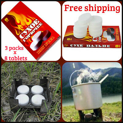 8 Dry Fuel tablets Combustible Solid Round Camping Hiking Stove Fire Starter