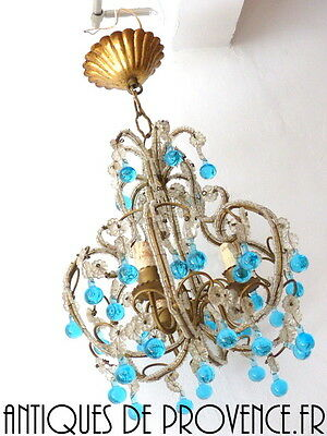 Antique Vintage Petite Crystal Macaroni Beaded Murano Blue Aqua Drops Chandelier