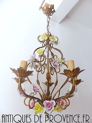 French Gilded Tole Porcelain Roses Chandelier Vintage Original 5 Lights