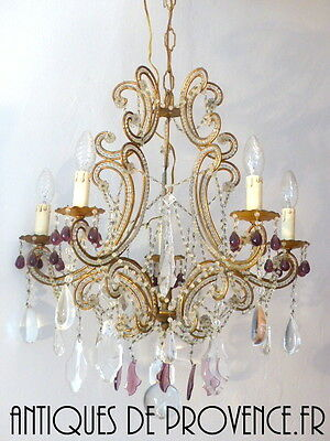 Antique Vintage Macaroni Beaded Murano Drops Chandelier Italian Purple drops