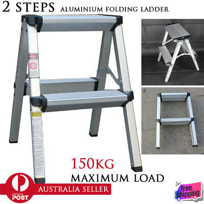 150KG Maximum Load 2 Step Stool Folding Ladder Anti Slip Safety Aluminium Ladder