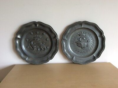 Vintage Pair Of French Pewter Plates Emblem For King Francis I /Claude Of France