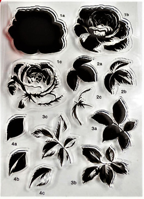 Clear cling stamps for Card making & stamping Unbranded LAYERING ROSE FLOWER