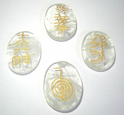 Usui reiki clear quartz carved Four stone set crystal healing gift feng shui