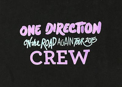 One Direction On the Road Again Tour 2015 Black Crew T-Shirt Adult Size XL