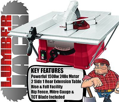 "Trade 1500W 10"" Bench Table Saw 254mm with Side & Rear Extension TCT Blade 240v"