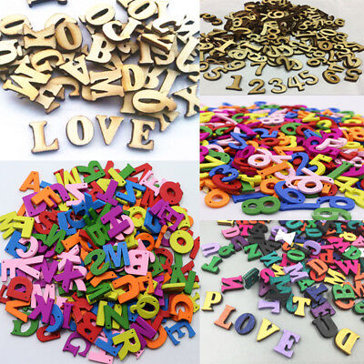 200x Embellishments Letters Number Wooden Alphabet Scrapbooking Cardmaking Craft