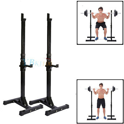 2× Heavy Duty Gym Squat Barbell Power Rack Stand Weight Bench Height Adjustable