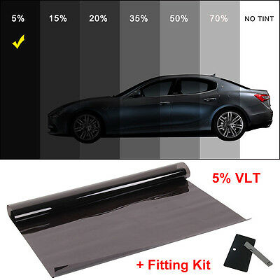 Window Film Tint Dark Smoke 5% 6Mx 76CM  2Ply Professional Anti-Scratch Car UK