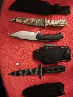 Junk drawer lot of hunting knives 3 knives in al