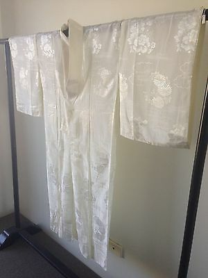 Cream Silk Floral Japanese Vintage Kimono Costume Robe Hand Made Old Kyoto