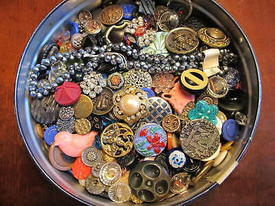 Wow 2 Lbs Vintage Antique Buttons Lot Celluloid Glass Metal Rhinestone & More