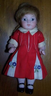 """Gorgeous All Bisque Artist Made Doll - 6"""" Height"""