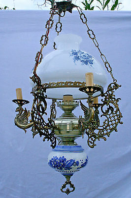 Unusual 60's  Blue white delft faience glass Metal Dragons gothic chandelier