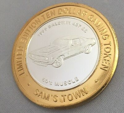 Sam's Town 60S Muscle Lv Limited Edition .999 Fine Silver $10 Gaming Token