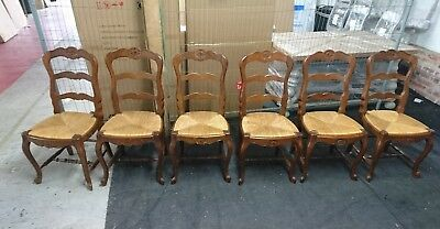 Set Of Six 6 Antique Louis Xv Style Dining Chairs Oak & Rush Ladder Back