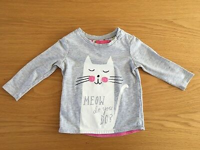Joules Girls Cat T-Shirt 3-6 Months Good Used Condition
